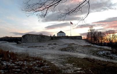 Kristiansen festning o zachodzie słońca.