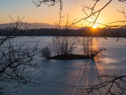 Zachód Słońca nad Karkonoszami.